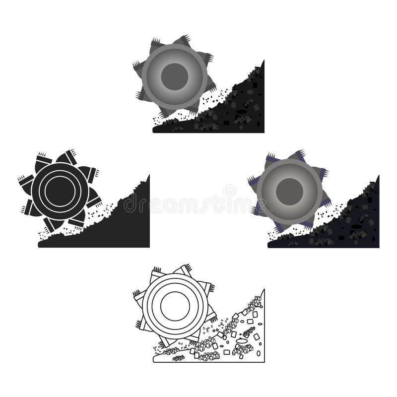Bucket-wheel excavator icon in cartoon style isolated on white background. Mine symbol stock vector illustration. Bucket-wheel excavator icon in cartoon style stock illustration