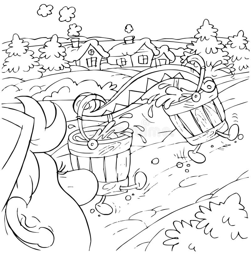 Buckets. Black-and-white illustration (coloring page): buckets filled with water themselves come to a village royalty free illustration