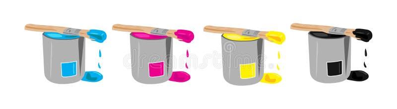 buckets cmykmålarfärg royaltyfri illustrationer