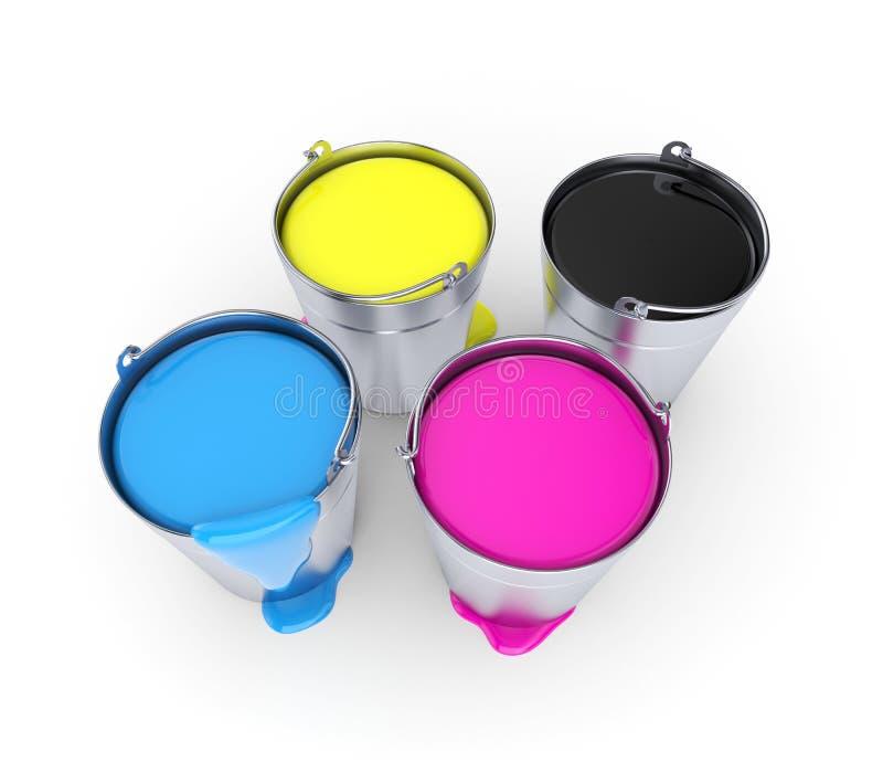 buckets cmykmålarfärg stock illustrationer