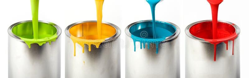 buckets färgrik målarfärg royaltyfri foto