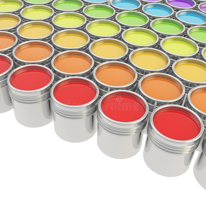 Free Buckets Full Of Paint Over White Background Royalty Free Stock Images - 27377359