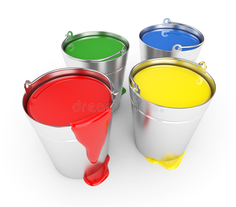 Buckets with a paint. Isolated on white stock illustration