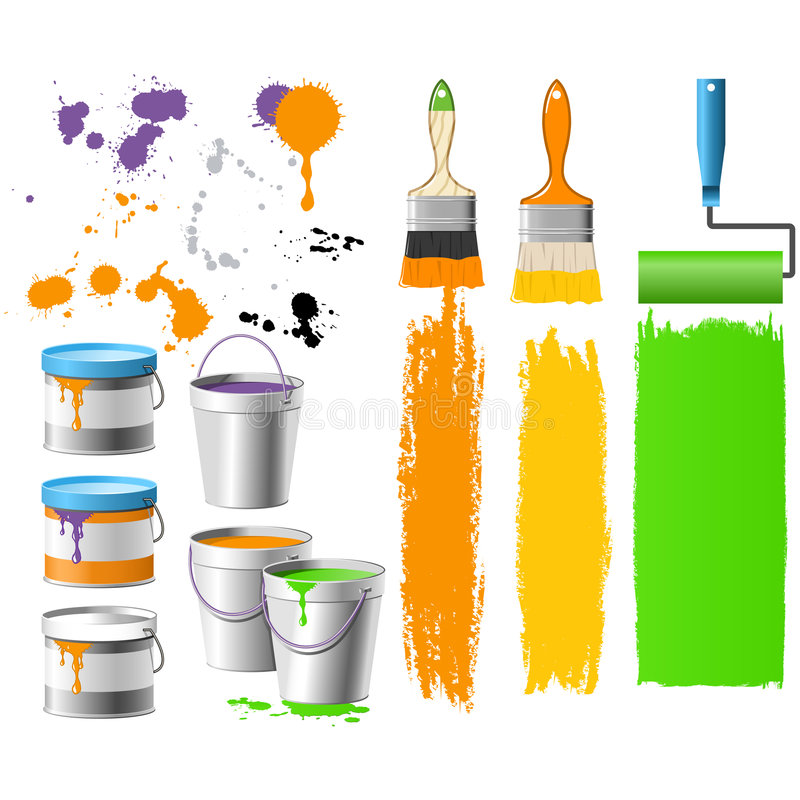 Download Buckets with paint stock vector. Image of household, color - 6974354