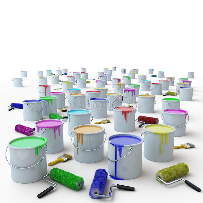 Buckets with paints. On a white background stock illustration