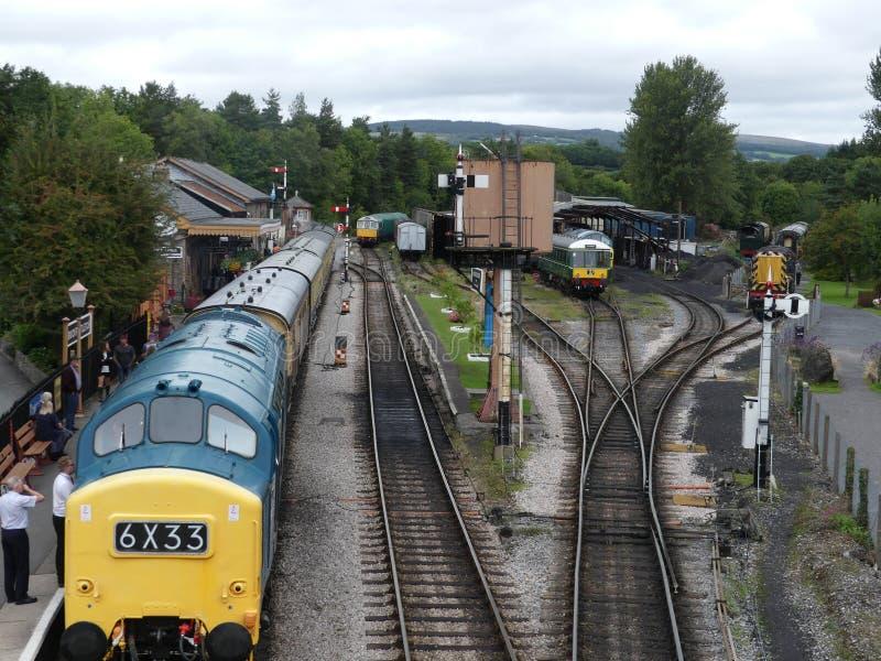 Buckfastleigh, England - August 27 2018. Steam trains at Buckfastleigh railways station preparing to set off stock photos