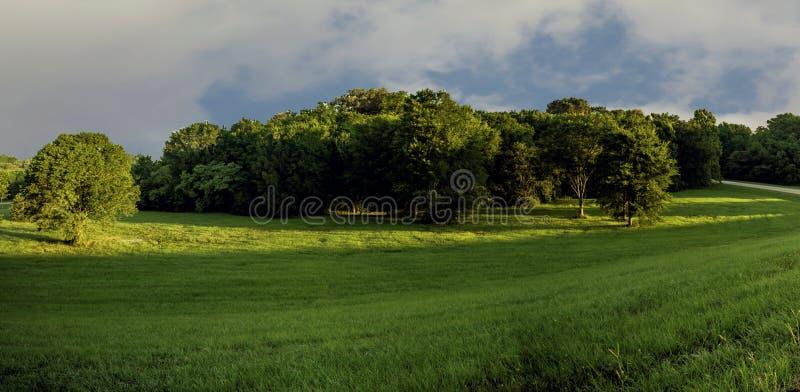 Buckhorn chył Rd przy wschodem słońca jest oddzielający drogowy złącze które wymagają ogromnych obrzary ziemia To tworzy pięknego obraz royalty free