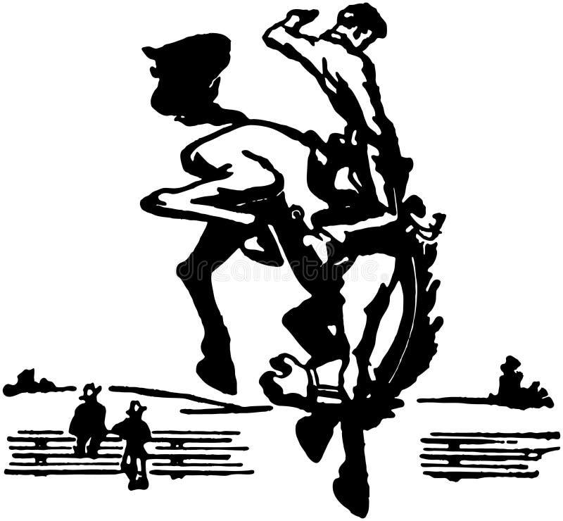 Bucking мустанг 3 иллюстрация вектора