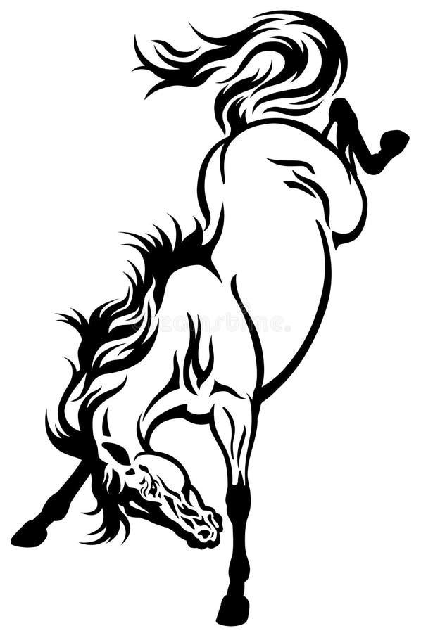 Bucking татуировка лошади иллюстрация штока