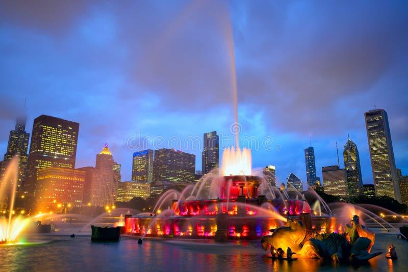 buckingham芝加哥喷泉地平线 免版税图库摄影