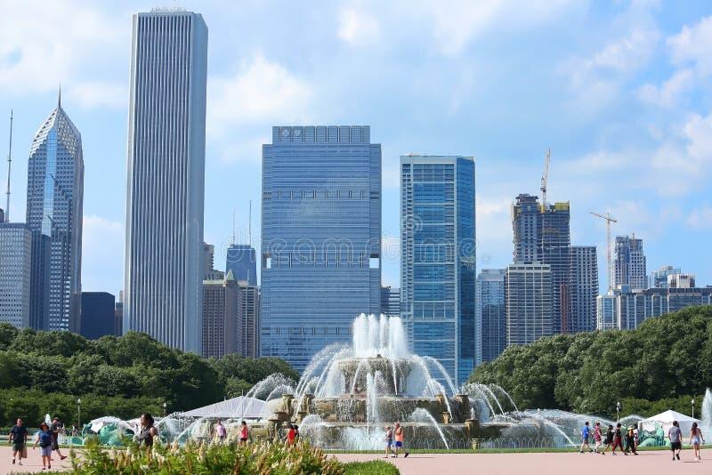 Buckingham fontanna Chicagowski punkt zwrotny w centrum Grant park zdjęcia royalty free
