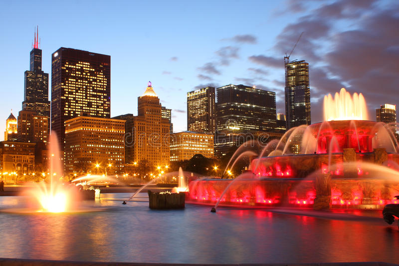 Buckingham Fountain. With cityscape in background royalty free stock image