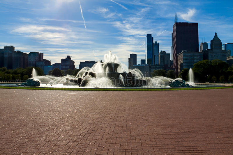 Buckingham Fountain, Chicago. Chicago's Clarence Buckingham Memorial Fountain. The seahorses around it represent the four states that surround lake Michigan royalty free stock photography