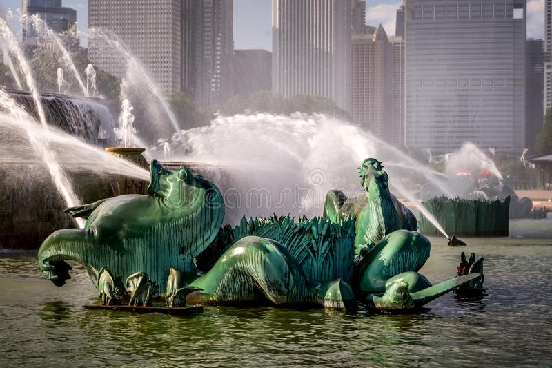 Buckingham Fountain in Chicago`s Grant Park. The Buckingham Fountain in Chicago is one of the largest fountains in the world. There are four pairs of Art Deco royalty free stock photography