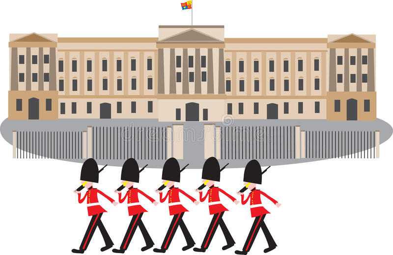 Buckingham Palace com protetores ilustração do vetor