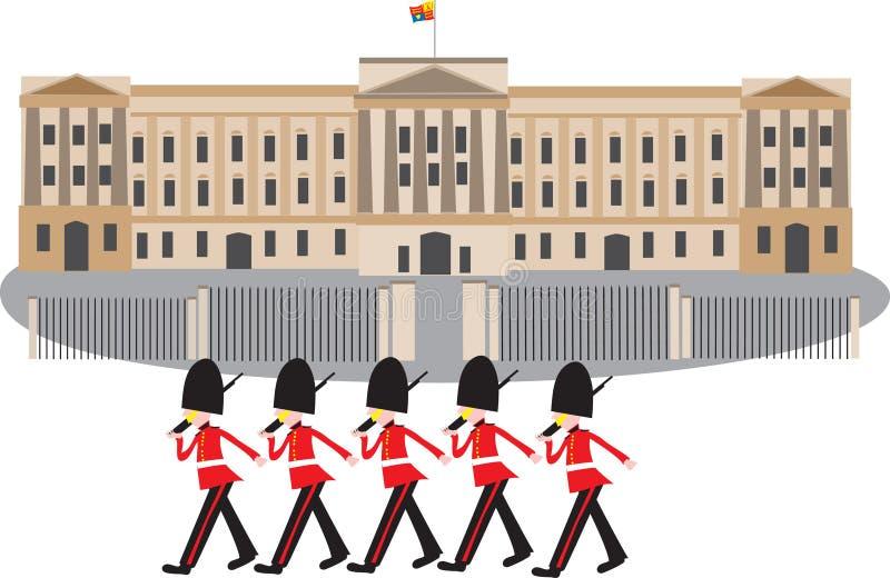 Buckingham Palace con los guardias foto de archivo