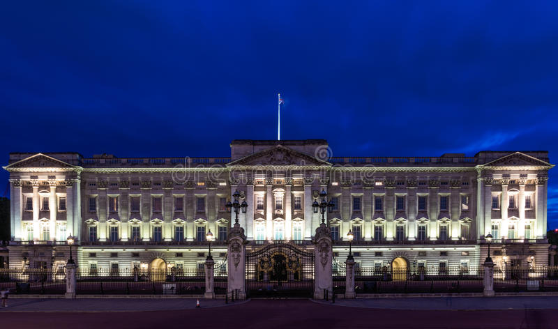 Buckingham Palace in London. At night royalty free stock image