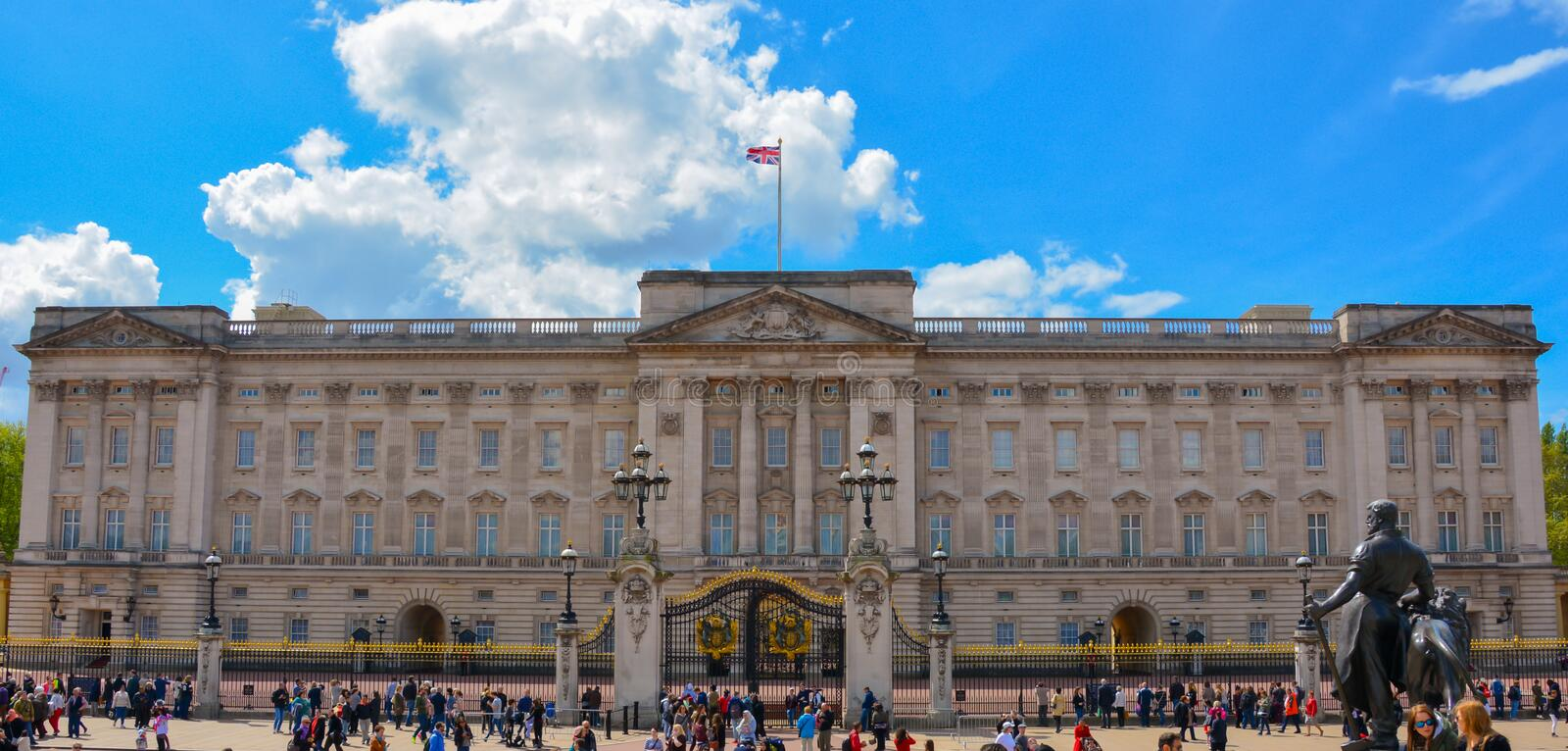 Buckingham palace - London. A shot of Buckingham palace when the royal family are present and the union jack flag is at full display. Taken May 2015 stock photos