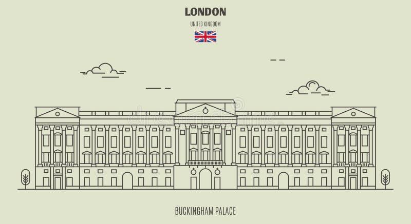 Buckingham Palace a Londra, Regno Unito Icona del punto di riferimento illustrazione di stock