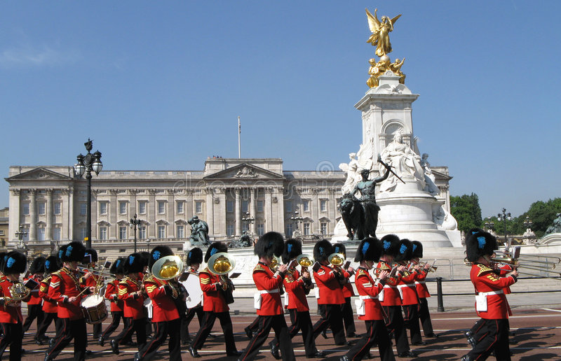 Buckingham Palace and Marching stock photos