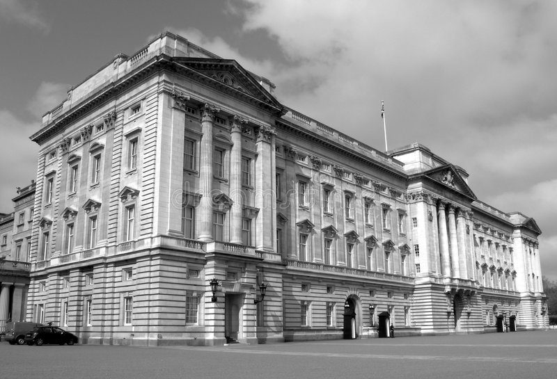 Buckingham Palace (monochrome picture). Buckingham Palace situated at the end of The Mall in London's Whitehall is the official royal residence of the reigning stock photos