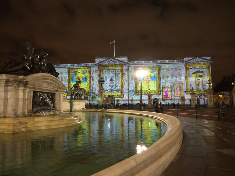 Buckingham Palace projection of images stock photos