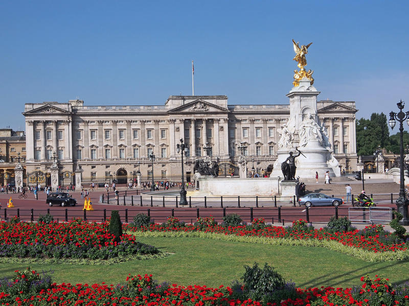 Buckingham Palace. Is set amid an area of parks and flower beds stock photos