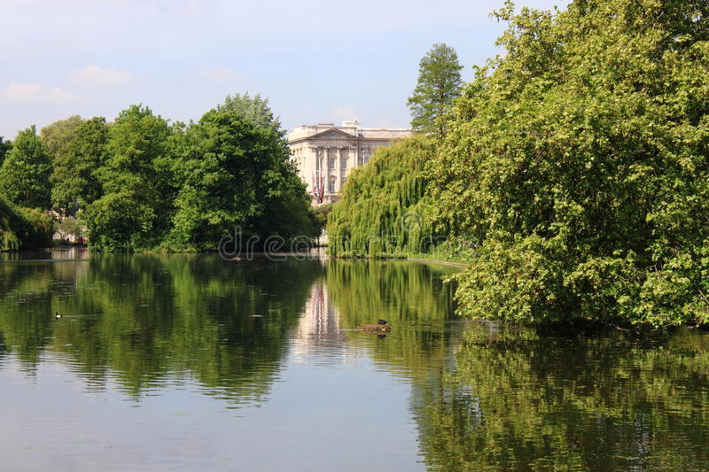 Buckingham Palace from St. James Park stock images