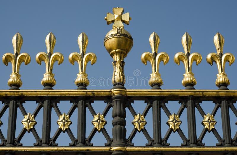 Buckingham Royal residence. Detail of the gates around Buckingham Palace in London stock photos