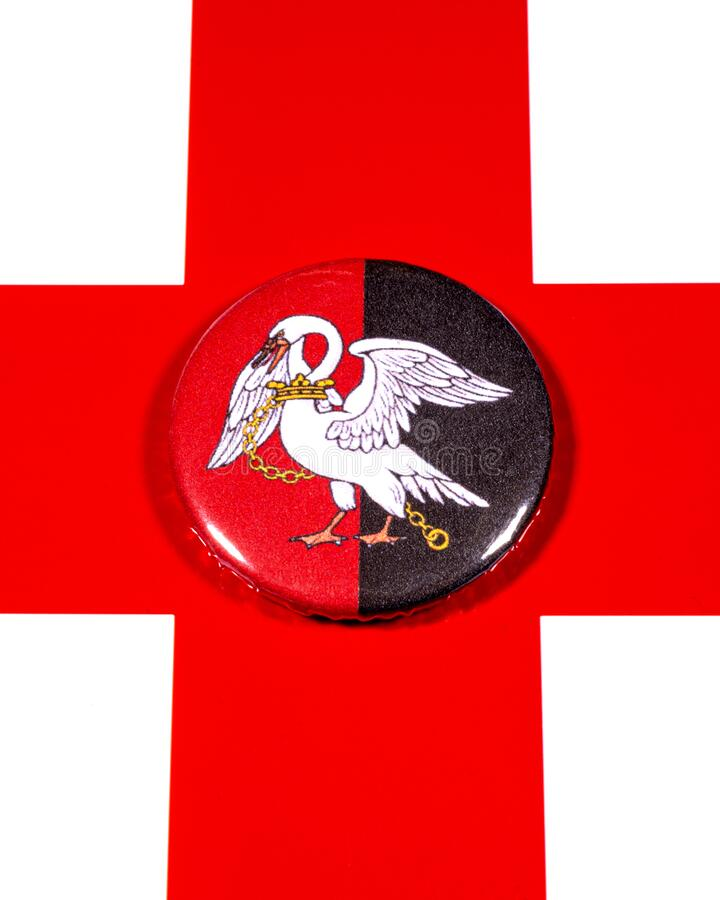Buckinghamshire in England. A badge portraying the flag of the English county of Buckinghamshire pictured over the England flag stock photo