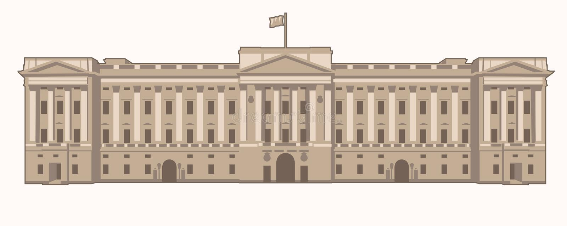 Buckingham Palace. Vector Illustration of the Buckingham Palace in London stock illustration