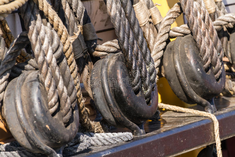 Buckles. Of the rigging of a tall ship stock image