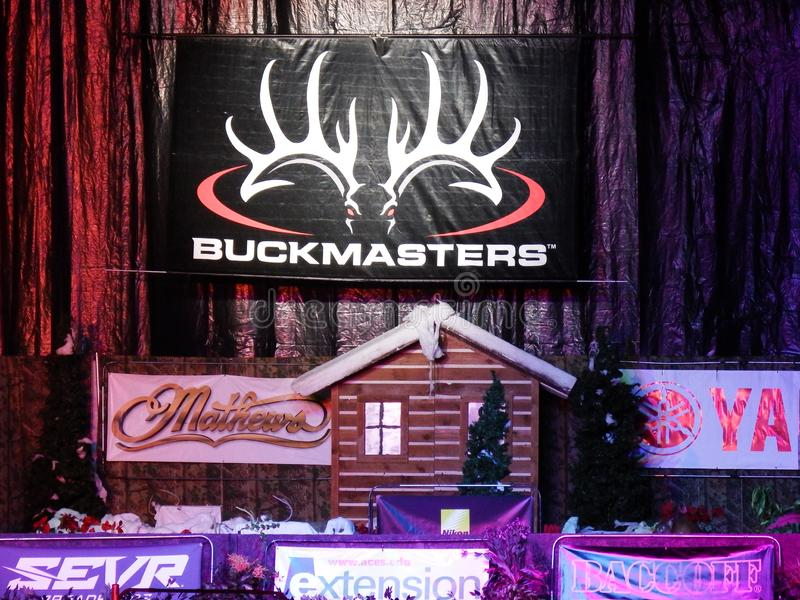 Buckmasters Archery Competition Arena 8-17-19. Buckmasters Archery Competition 8-17-19 at the Montgomery Performing Arts Center n Montgomery, Alabama - Whitetail stock images