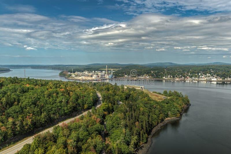 Bucksport du centre Maine et fort Knox State Historic Site image libre de droits
