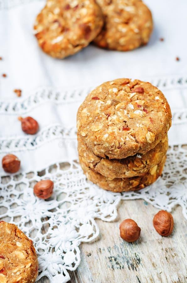 Buckwheat apple banana hazelnut dates vegan cookies stock photos
