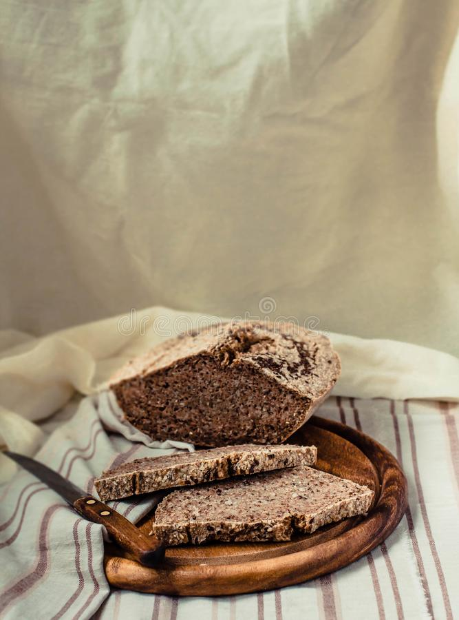 Buckwheat bread, gluten-free pastry on background in rustic style, selective focus. Copy space. stock images