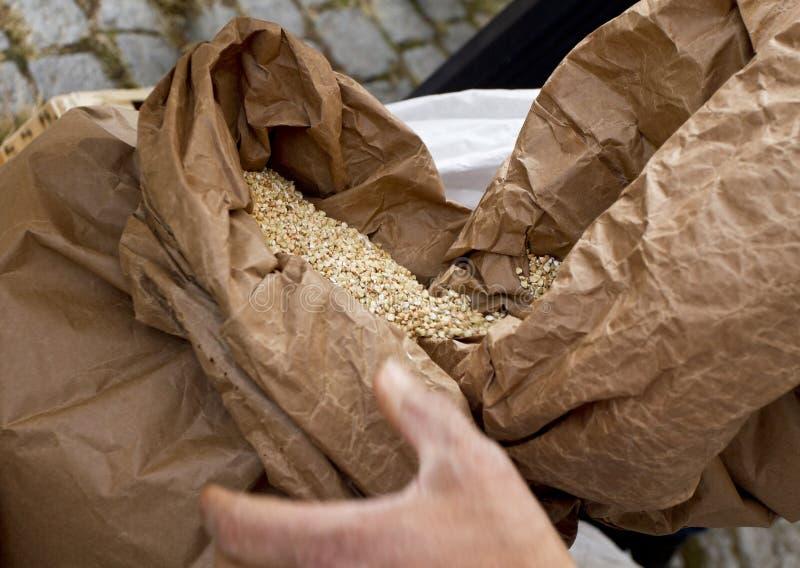 buckwheat Grani crudi organici del grano saraceno in un sacco, fondo del grano saraceno fotografia stock