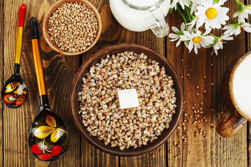 Buckwheat porridge with butter royalty free stock images