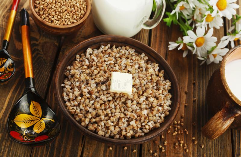 Buckwheat porridge with butter royalty free stock image