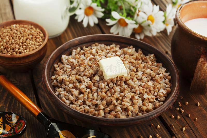 Buckwheat porridge with butter royalty free stock photography