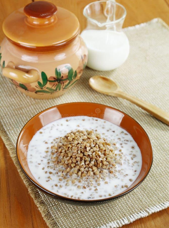 Buckwheat porridge with milk stock photography