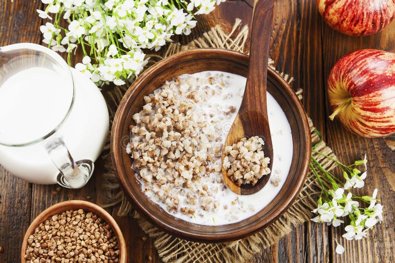 Buckwheat porridge with milk i royalty free stock photos