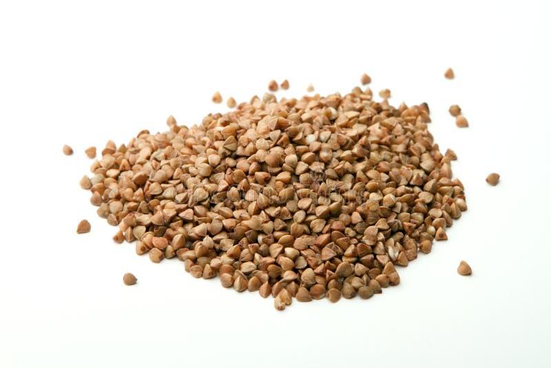 Buckwheat on white background stock photography