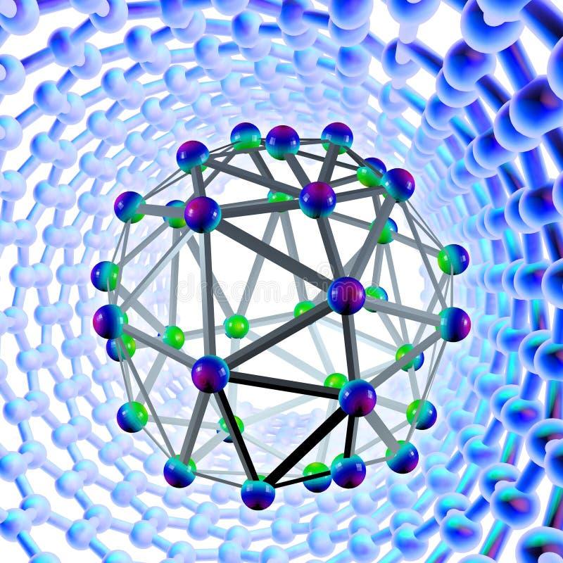 Buckyball och nanotube, konstverk vektor illustrationer