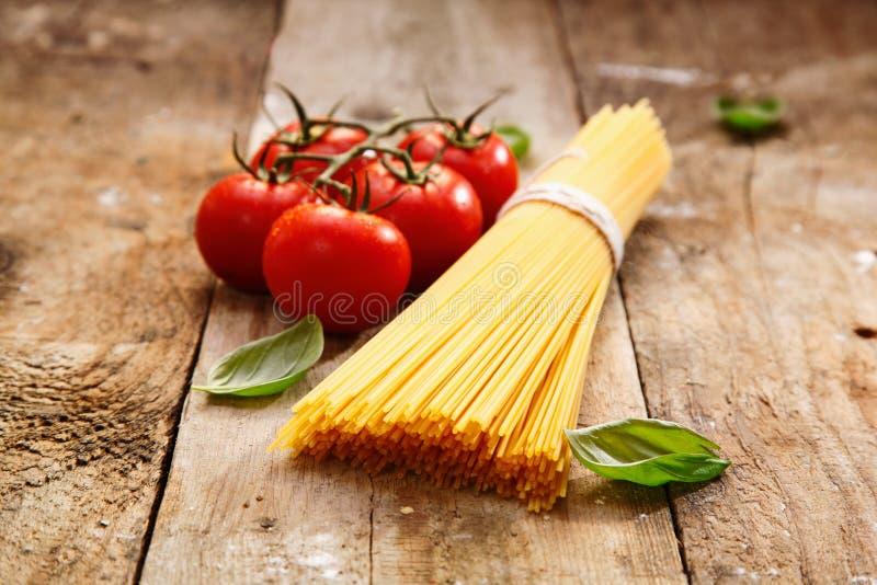 Bucnch of raw spaghetti stock image