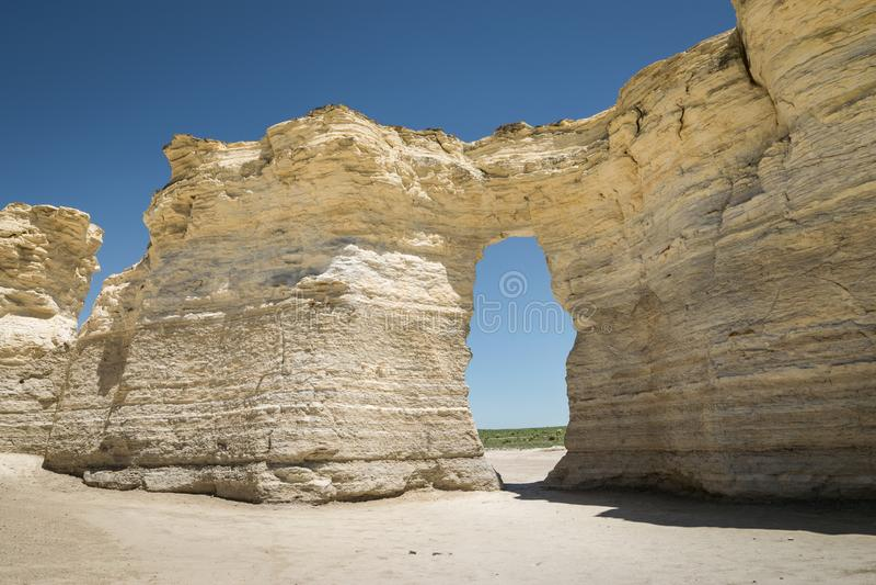Buco della serratura delle rocce del monumento, Kansas Grandi formazioni del gesso immagine stock libera da diritti