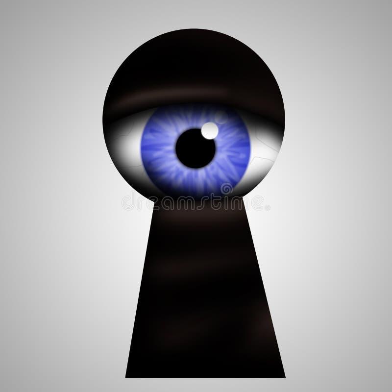 Buco della serratura di peek del mostro illustrazione vettoriale