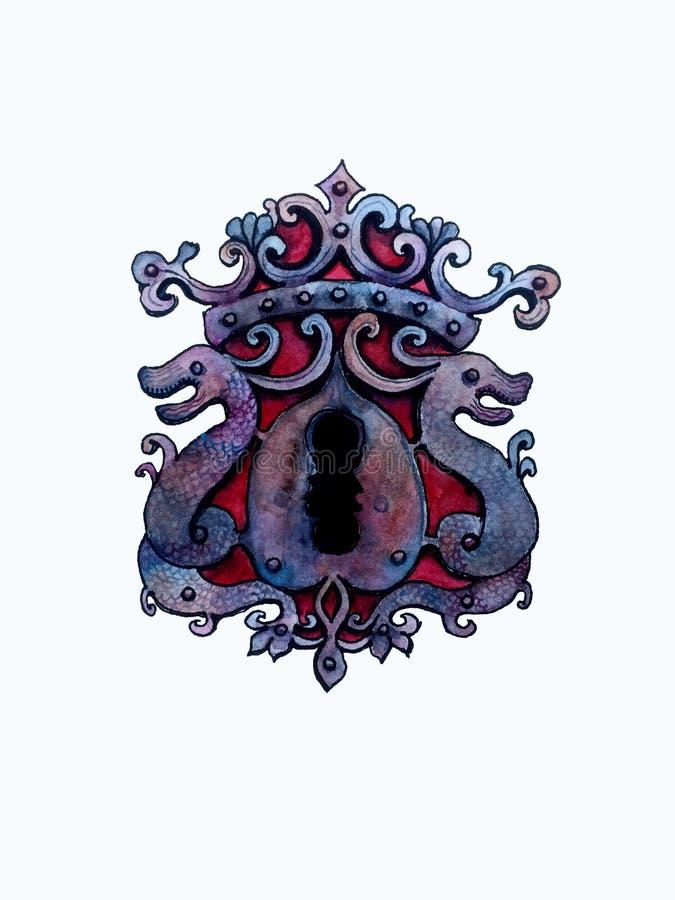 Buco della serratura disegnato a mano del anticue dell'acquerello illustrazione vettoriale