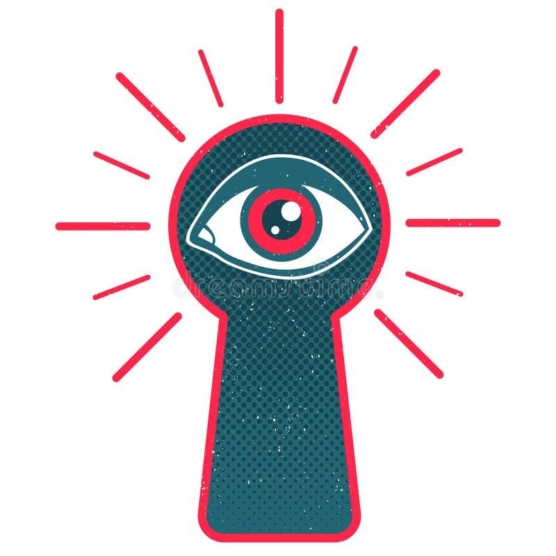 Buco della serratura ed occhio illustrazione di stock