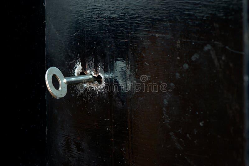 Buco della serratura nella porta del ferro immagine stock libera da diritti